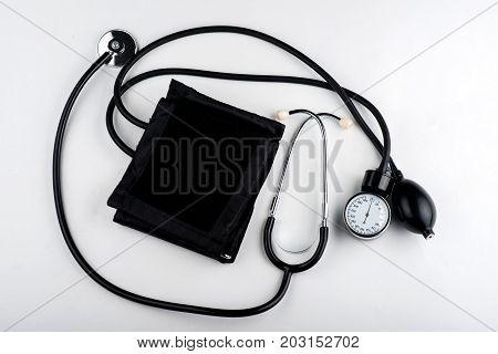 close-up of a tonometer, a tonometer and a stethoscope