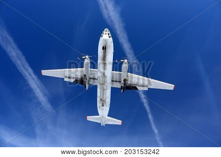 Kubinka, Moscow Region, Russia - April 1, 2011: Antonov An-30 87 BLACK of russian air force landing at Kubinka air force base.