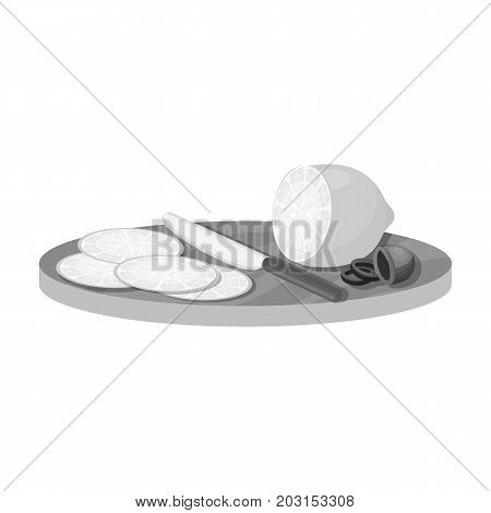 Slicing lemon and olives. Eating and cooking single icon in monochrome style vector symbol stock illustration .