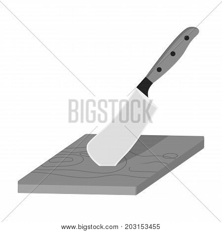 Board and cleaver for food processing. Food and cooking single icon in monochrome style vector symbol stock illustration .