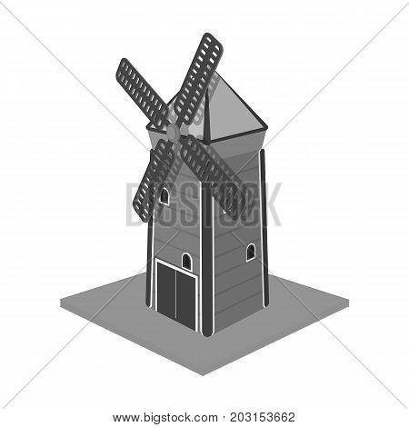 Windmill, single icon in monochrome style.Windmill vector symbol stock illustration .