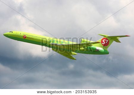 Domodedovo, Moscow Region, Russia - June 22, 2008: S7 Airlines Tupolev Tu-154M RA-85829 taking off at Domodedovo international airport.