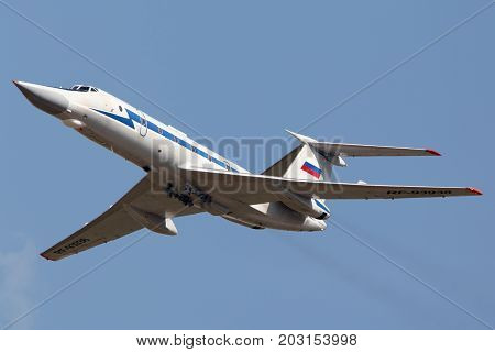 Zhukovsky, Moscow Region, Russia - August 10, 2012: Tupolev Tu-134UB-KM RF-93938 shown at 100 years anniversary of Russian Air Forces in Zhukovsky.