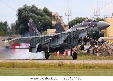 Zhukovsky, Moscow Region, Russia - August 17, 2015: Sukhoi SU-35S of russian air force landing at Zhukovsky before MAKS-2015 airshow.