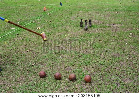Sports Woodball a way to play a sport like golf Woodball is played with a mallet whose head looks remarkably like a wooden beer bottle. And whose wickets look like a wooden beer glass suspended between two more wooden bottles.