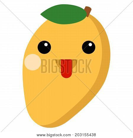 Mango face emoji with stuck-out tongue vector illustration. Flat style design. Colorful graphics