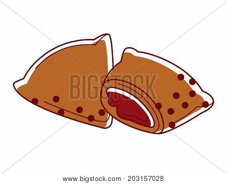 Tasty Indian samosa with filling isolated cartoon vector illustration on white background. Deep-fried patties of original form with vegetables inside. Traditional vegetarian dish from Indian cuisine.