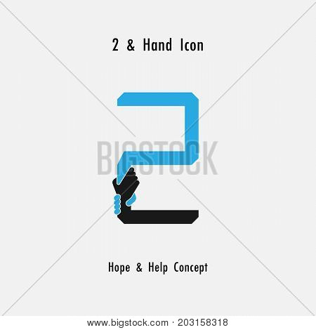 Creative 2- Number icon abstract and hands icon design vector template.Business offer, partnership, hope, support or help concept.Vector illustration