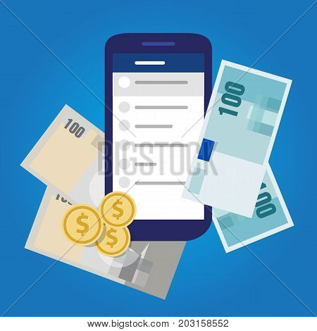 mobile banking account money finance savings invest cash vector object