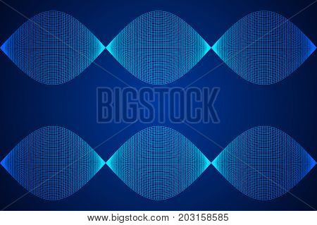 Wireframe Mesh Sinusoidal Plane. Trigonometry. Connection Structure. Digital Data Visualization Concept. Vector Illustration.