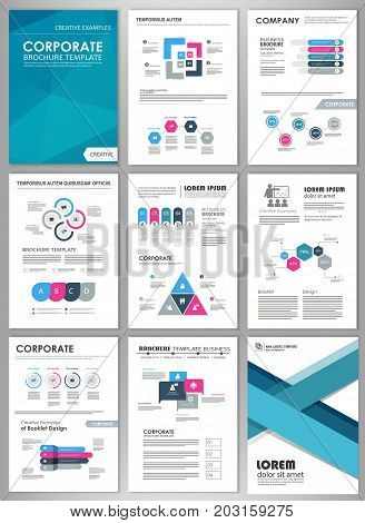 Infographic brochure elements for business and finance visualization. Set of infographic templates for flyer, presentation, print, website