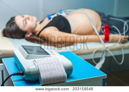 Electrocardiogram, cardiac cardiograph and conduct research, .ECG and examination of the heart during pregnancy