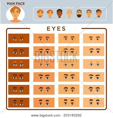 Man face constructor with samples on blue background and eyes set . All skin tones, shape of eyes, eyebrows of various thickness and whole male face examples with beard or shaved vector illustrations.