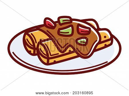 Enchiladas with spicy sauce and greenery on plate isolated cartoon flat vector illustration on white background. Traditional Mexican dish, tortilla with a filling, wrapped in roll and baked.