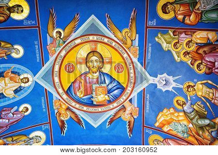 Perast Montenegro - September 4 2017: ceiling painting on the Roman Catholic Church of Our Lady of the Rocks which is situated on the islet off the coast of Perast in Bay of Kotor Montenegro.