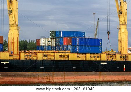 Labuan,Malaysia-Aug 30,2017:Freight shipping containers at the docks in the port of Labuan island,Malaysia.The abolishment of cabotage policy is set to benefit this duty free island economically
