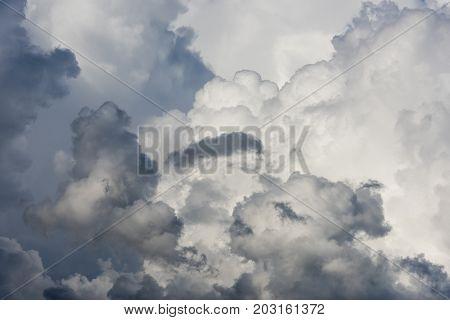 Black and white clouds and rain clouds cumulus clouds.