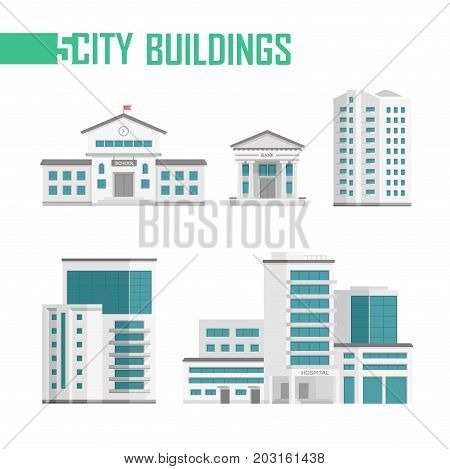 Five city buildings set of icons - vector illustration isolated on white background. School, bank, hospital, two skyscrapers. Grey and blue color