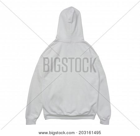 blank hoodie sweatshirt color white back view on white background