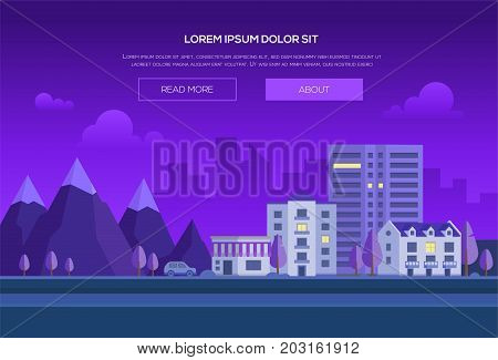 Night city by the mountains - modern vector illustration with place for text. Cityscape with hills, park, road, car, houses, skyscraper, purple sky with clouds