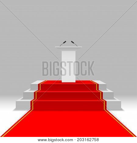 Podium with red carpet and white tribune
