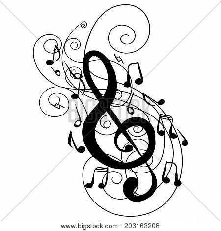 Swirl whirl treble clef key hand drawn doodle isolated vector tattoo sketch music key