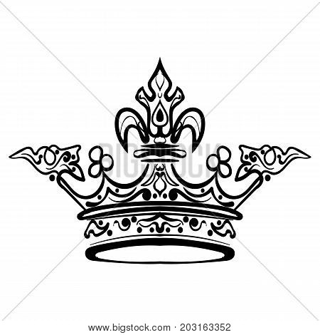 Hand drawn crown. Vintage engraved illustration tattoo sketch crown