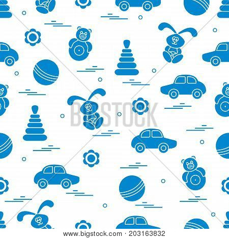 Vector Pattern Of Different Toys: Car, Pyramid, Roly-poly, Ball, Hare, Rattle.