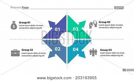 Four group process chart slide template. Element of plan, strategy, chart. Concept for presentation, templates, annual report. Can be used for topics like business, management, marketing