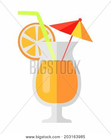 Orange cocktail with fruit slice and decorative umbrella and green straw in shaped glass. Vector colorful illustration in flat design of tropical refreshing drink in glass cup with glass leg.