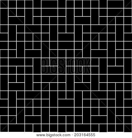 White Square Block Seamless on Black Background. Vector Illustration.