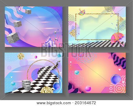 Abstract hipster color composition in trendy 90s style with umbrella, geometric shapes, frames, fluid and liguid texture, futuristic bright background, template for banner, poster, vector illustration
