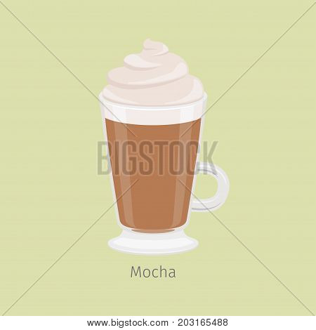 Irish mug with mocha flat vector. Hot invigorating drink with caffeine. Espresso based chocolate flavored coffee with creamy foam on top illustration for coffee house and cafe menus design