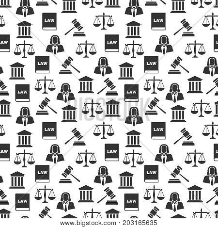 Law and justice seamless pattern. Balance and court, gavel and judge, vector illustration