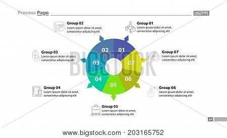 Six group donut chart slide template. Element of plan, strategy, chart. Concept for presentation, templates, annual report. Can be used for topics like business, trade, shopping
