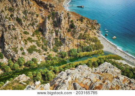 River flowing through mountains and flows into sea