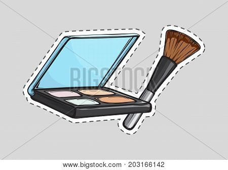 Set of eyeshadows with mirror. Brown cosmetic brush. Cut it out. Square black case. Cosmetics for women. Eyeshadow palette with four colours. Cartoon design. Flat style. Female fashion. Vector