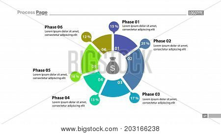 Six phase donut chart with descriptions template. Element of graph, diagram, infographic. Concept for presentation, slide template, annual report. Can be used for topics like money, finance, banking