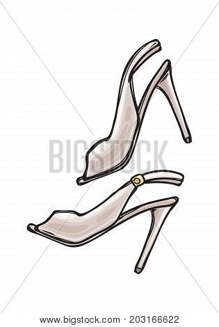Women s shoes with open toe in cartoon art style on background. Pearl footwear for woman. Vector illustration of fashionable stiletto shoes icon for infographics, websites and app.