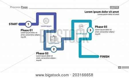 Three phase flow chart slide template. Element of diagram, infographic, flowchart. Concept for presentation, template, annual report. Can be used for topics like trade, marketing, business