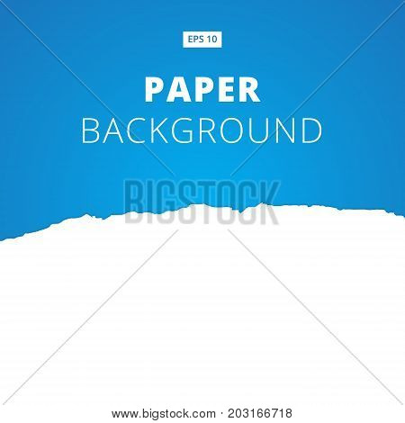 White ripped paper cut on blue background Vector illustration