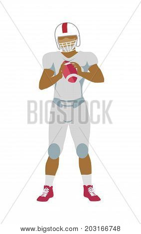 American football player with ball in hands in equipment and helmet. White football uniform. Sport team game. Sportsman logo. Vector