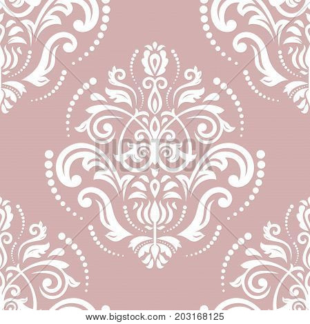 Oriental classic purple and white pattern. Seamless abstract background with repeating elements. Orient background
