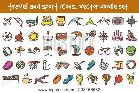 Vector doodle travel and sport icons set. Stock cartoon signs for design.
