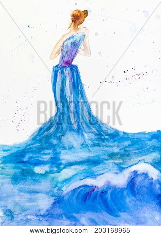hand painted woman in blue evening dress from ocean wave and water drawn by watercolors on white paper