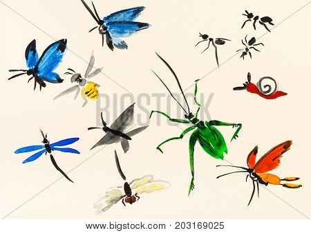 Lot Of Insects Hand Painted On Cream Colored Paper