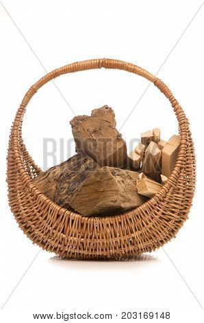 wood and kindling in a basket cutout
