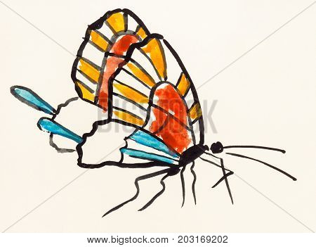Butterfly With Multicolor Wings On Colored Paper
