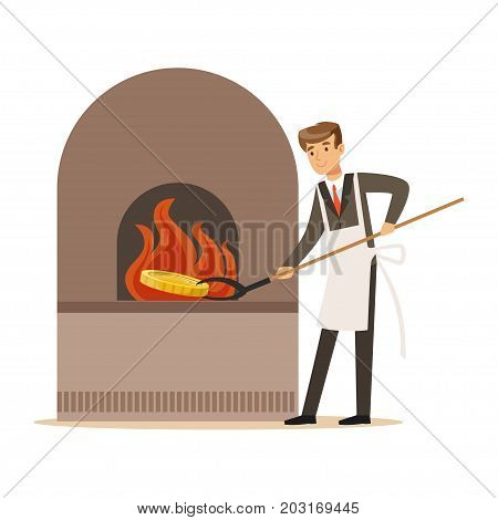 Man in a business suit and white apron forging money in furnace, make money concept vector Illustration on a white background