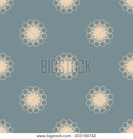 Pastel orange flowers on dusty blue background seamless pattern. Repeating floral background. Vector